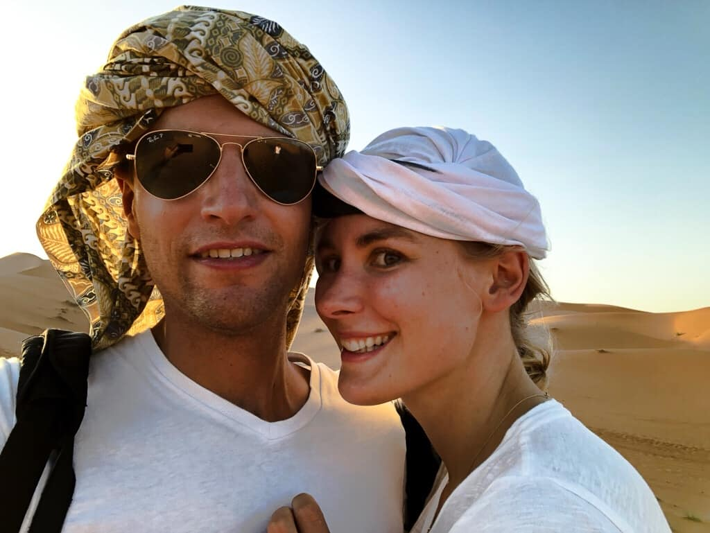 Morocco desert track camels
