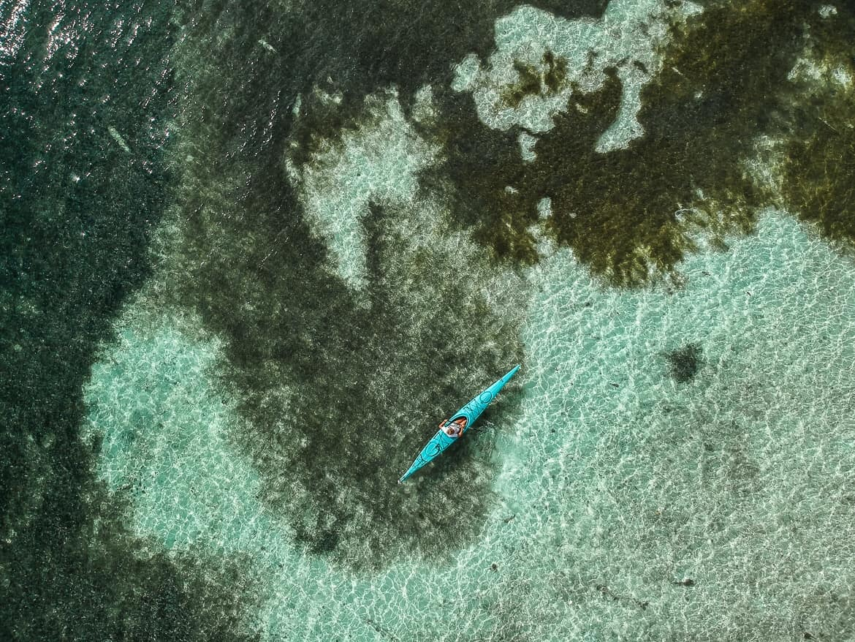drone kayaking Belize raggamuffin