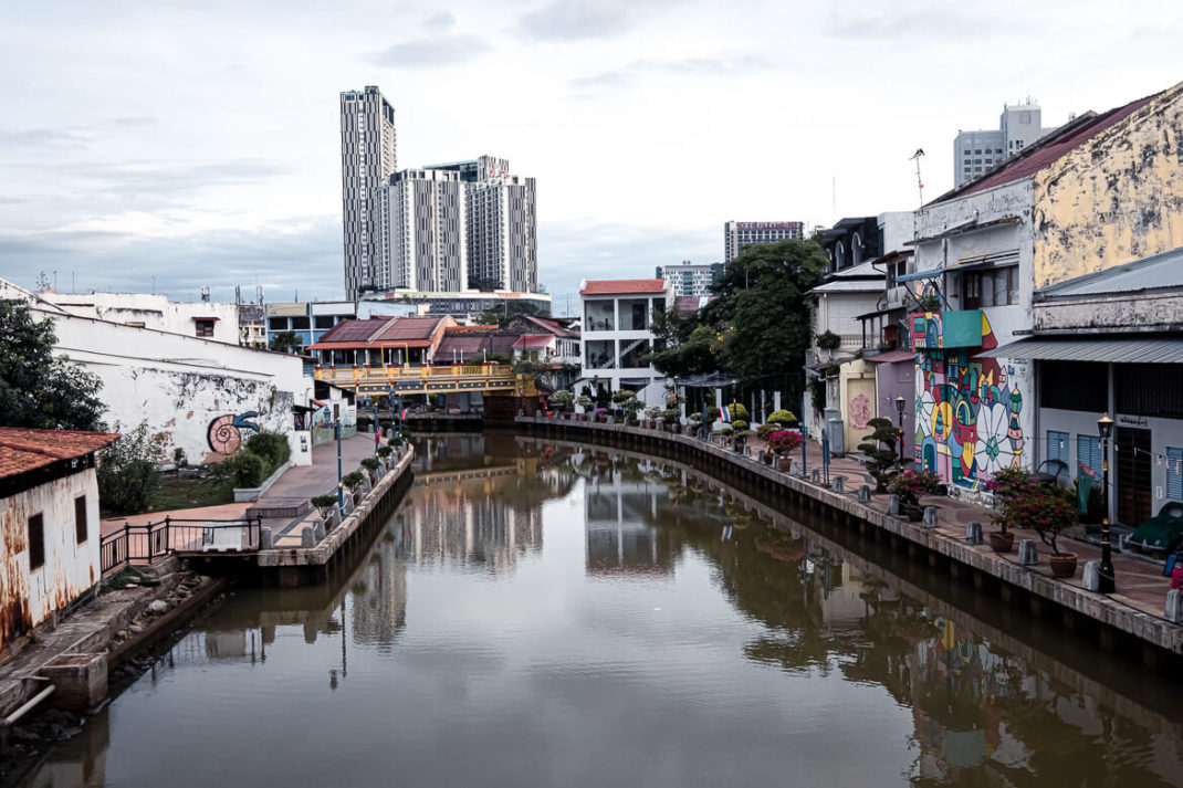 Malaysia Melaka Canal view and architecture